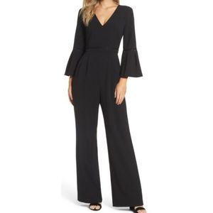 Eliza J black bell sleeve wide leg jumpsuit 9115